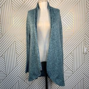 Wooden Ships Blue Green Knit Open Cardigan Sweater